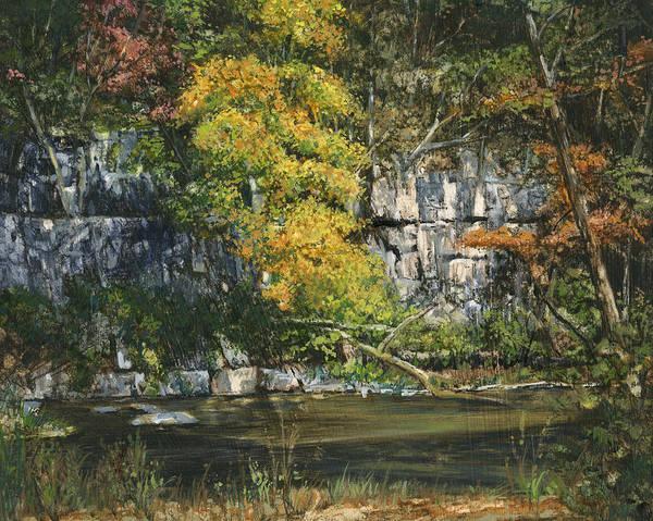 Bluffs Painting - The Bluffs River Trail by Don  Langeneckert