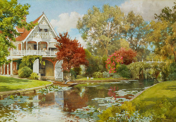 Punt Painting - The Boathouse by Alfred Parsons
