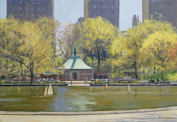 Pavilion Photograph - The Boating Lake, Central Park, New York, 1997 Oil On Canvas by Julian Barrow