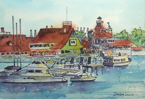 Painting - The Boats At Shoreline Village by Debbie Lewis