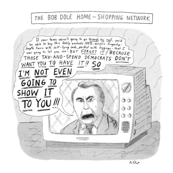 Elves Drawing - The Bob Dole Home-shopping Network by Roz Chast