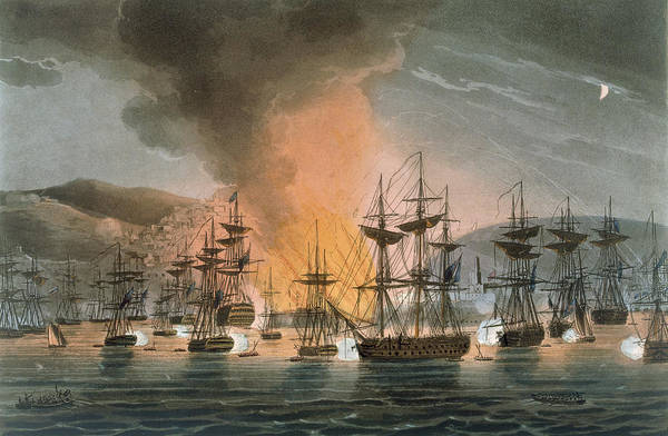 Warfare Drawing - The Bombardment Of Algiers by Thomas Whitcombe