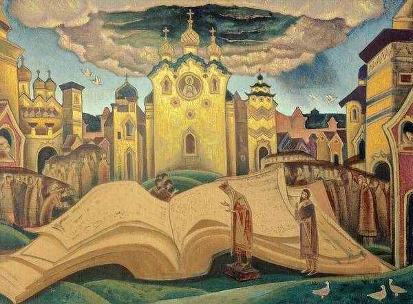 Nk Roerich Painting - The Book Of Doves by Nicholas Roerich
