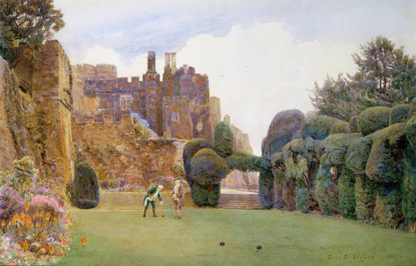 Green Lawn Wall Art - Painting - The Bowling Green, Berkeley Castle by George Samuel Elgood