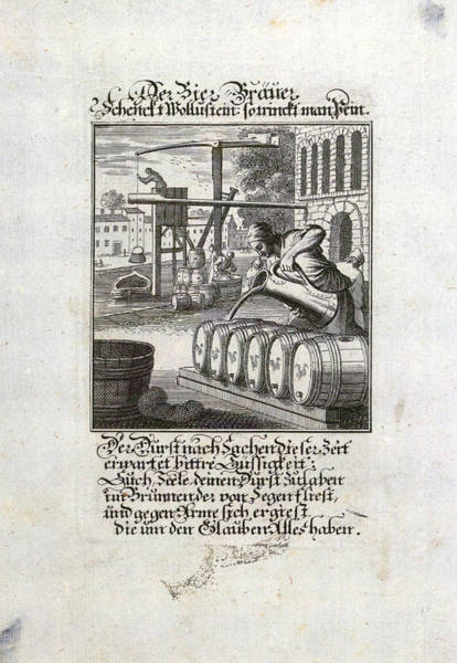Caucasian Drawing - The Brewer, Old Master Print, 17th Century, 1600s, 1700s by German School
