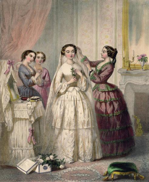 Wedding Bouquet Photograph - The Bride, Engraved By J. Battannier, 1852-53 Colour Litho by Henri Lafon