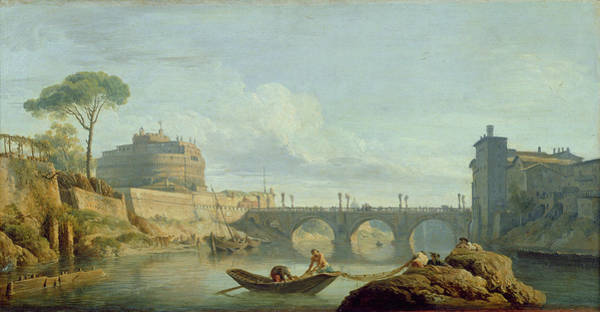 Tiber Wall Art - Photograph - The Bridge And Castle Santangelo, 1745 Oil On Canvas by Claude Joseph Vernet