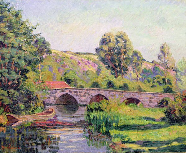 Punt Painting - The Bridge At Boigneville by Jean Baptiste Armand Guillaumin