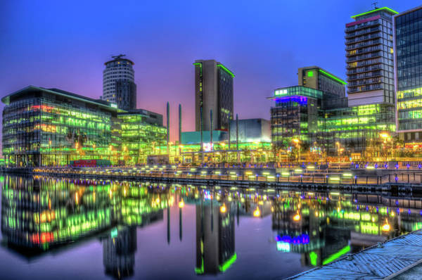Manchester Skyline Wall Art - Photograph - The Bright Lights Of Media City by Philip R Jones