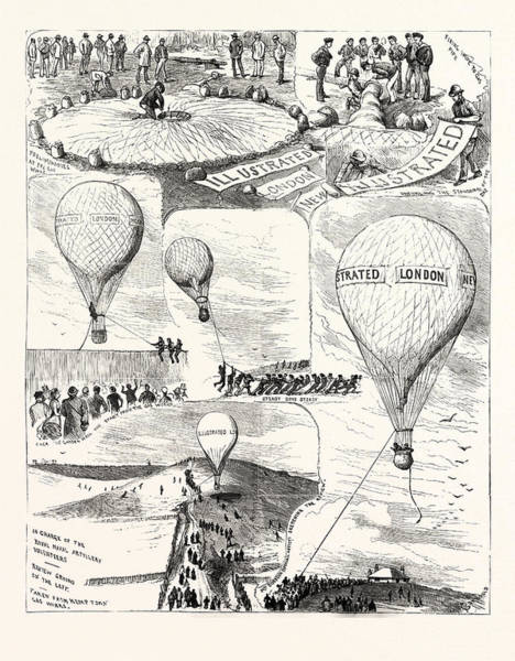 Prepare Drawing - The Brighton Review Preparing To Ascend In A Balloon by English School