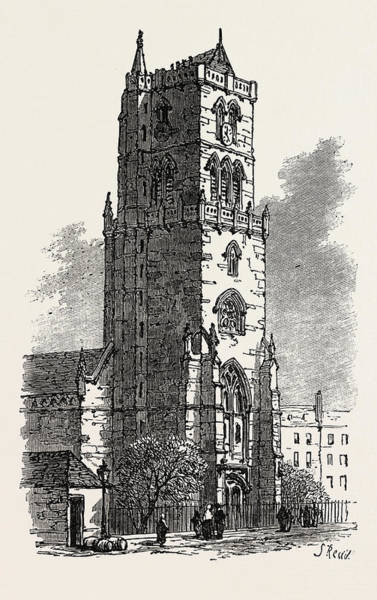 Old Style Drawing - The British Association At Dundee Old Steeple by English School