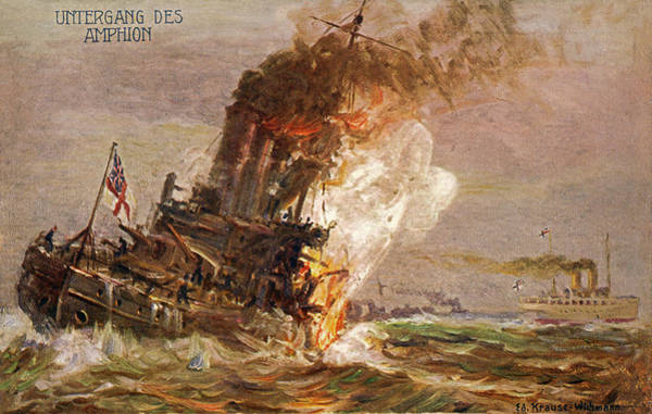 Wall Art - Drawing - The British Cruiser 'amphion' Is Sunk by Mary Evans Picture Library