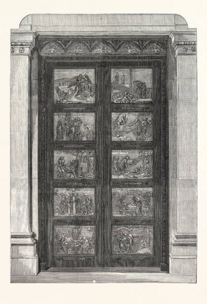Wall Art - Drawing - The Bronze Doors Presented By The Duke Of Bedford To Bu Yan by English School