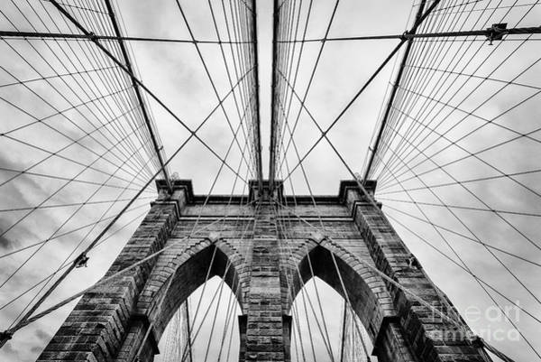 Mono Photograph - The Brooklyn Bridge by John Farnan