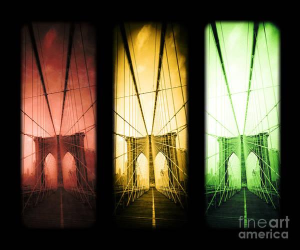 Photograph - The Brooklyn Bridge Trio by Edward Fielding