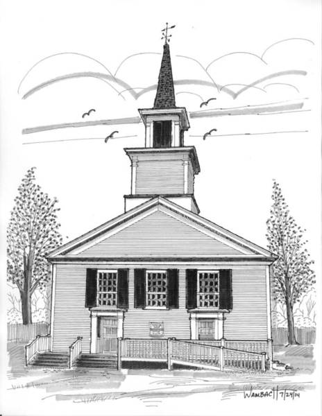 Drawing - The Brownington Congregational Church by Richard Wambach