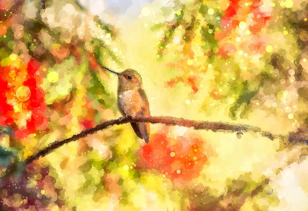 Finger Paint Painting - The Bubbly World Of A Hummingbird by Angela Stanton