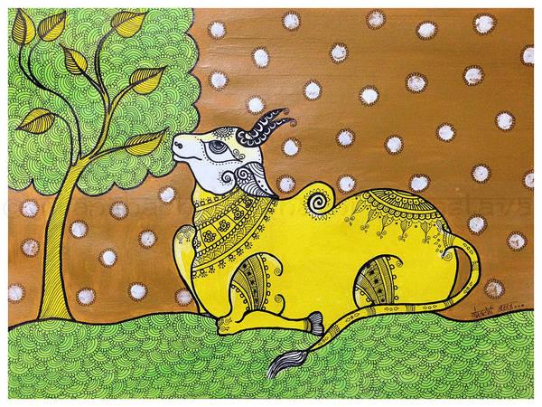 Kalamkari Painting - The Bull by Shachi Srivastava