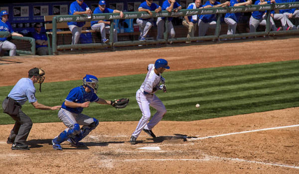 Toronto Blue Jays Photograph - The Bunt by Debby Richards