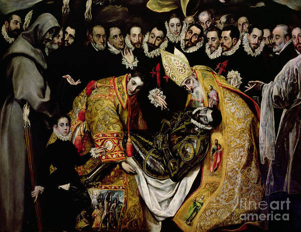 Mourning Painting - The Burial Of Count Orgaz From A Legend Of 1323 Detail Of A Young Page by El Greco Domenico Theotocopuli