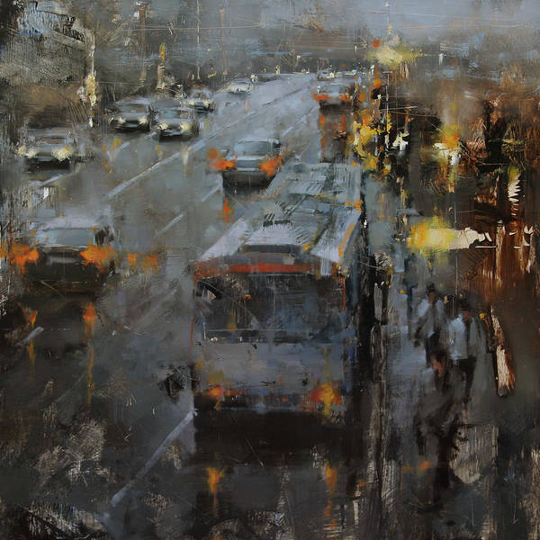 Stop Light Painting - The Bus Stop by Tibor Nagy