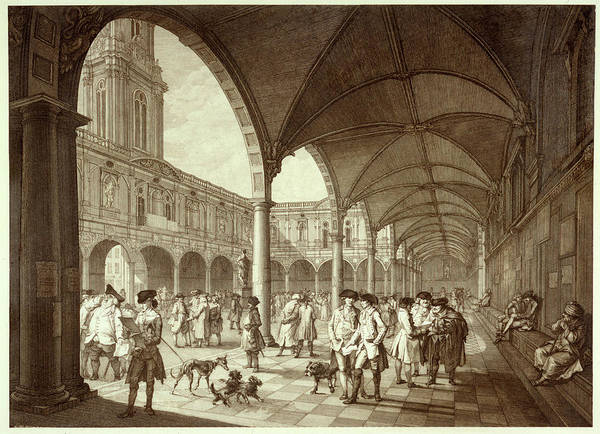Royal Court Drawing - The Busy Royal Exchange Court  Yard by Mary Evans Picture Library