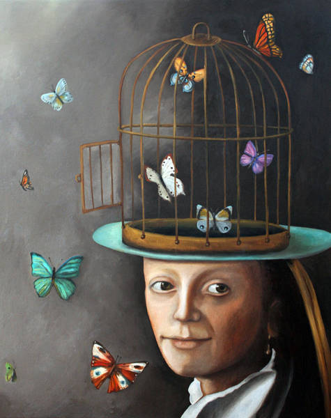 Painting - The Butterfly Keeper 1 by Leah Saulnier The Painting Maniac