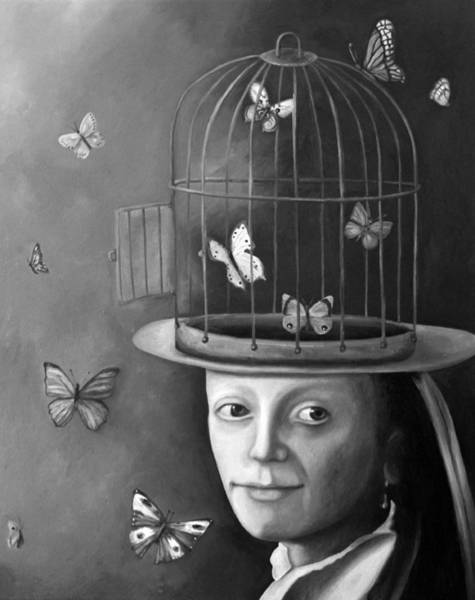 Painting - The Butterfly Keeper Bw by Leah Saulnier The Painting Maniac