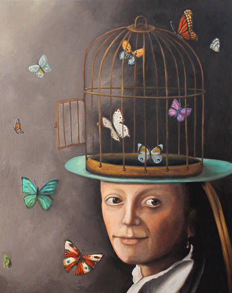 Painting - The Butterfly Keeper Edit 2 by Leah Saulnier The Painting Maniac