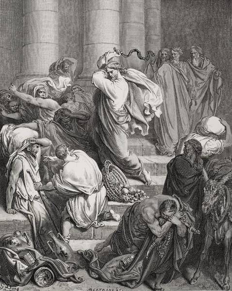 Anger Wall Art - Painting - The Buyers And Sellers Driven Out Of The Temple by Gustave Dore
