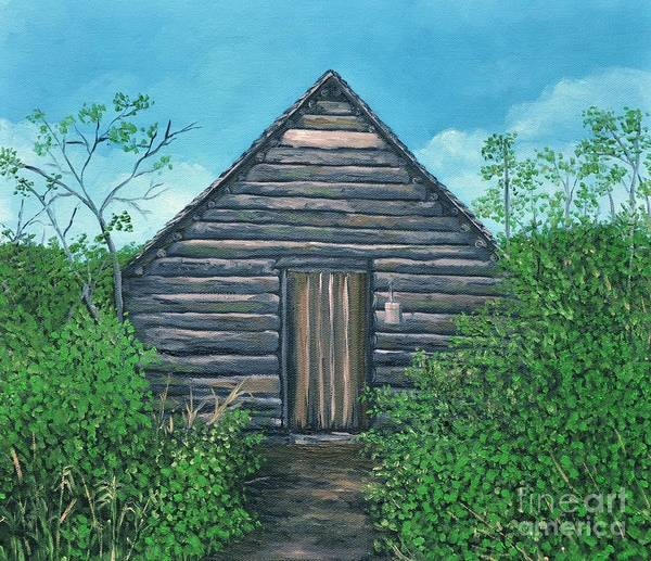 Cabin In The Woods Wall Art - Painting - The Cabin That Hans Built by Reb Frost