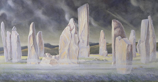 Ancient Woodland Painting - The Callanish Legend Isle Of Lewis by Evangeline Dickson