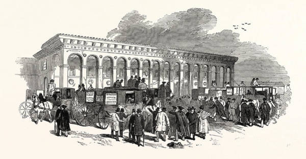 Railroad Station Drawing - The Cambridge Chancellorship Election The Railway Station by English School