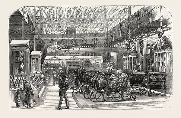 Royal Court Drawing - The Canadian Court, Crystal Palace, The Great Exhibition by English School