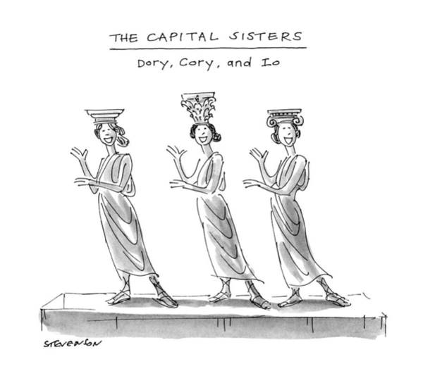 Columns Drawing - The Capital Sisters Dory by James Stevenson