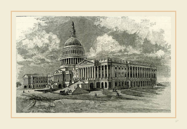 Capitol Drawing - The Capitol At Washington, East Front, 19th Century by Liszt collection