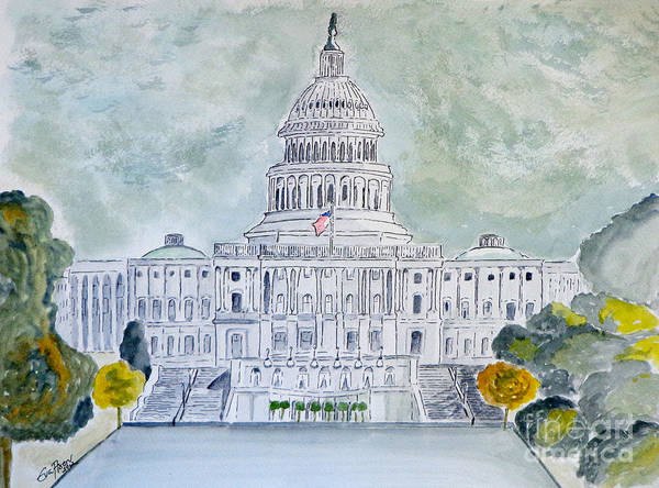 Capitol Painting - The Capitol Hill by Eva Ason