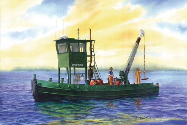 Mooring Painting - The Captain Charles by Marguerite Chadwick-Juner