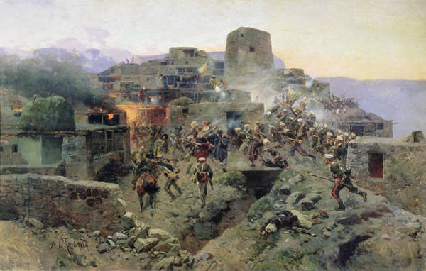 Gunfire Photograph - The Capture Of Aul Gimry, 17th October 1832, 1891 Oil On Canvas by Franz Roubaud