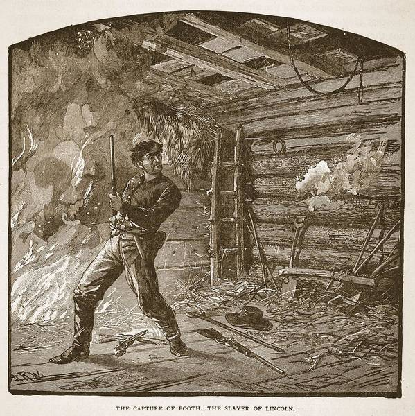 Rifle Drawing - The Capture Of Booth, The Slayer by Alfred R. Waud