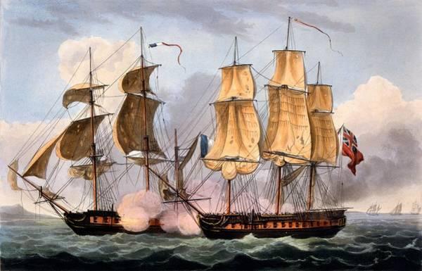 Warfare Drawing - The Capture Of La Confiante by Thomas Whitcombe