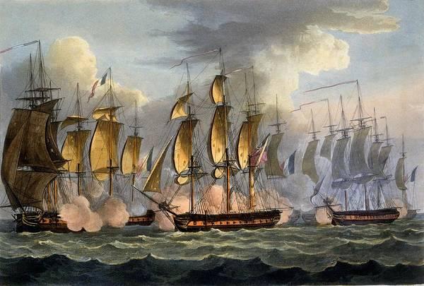 Warfare Drawing - The Capture Of La Raison by Thomas Whitcombe