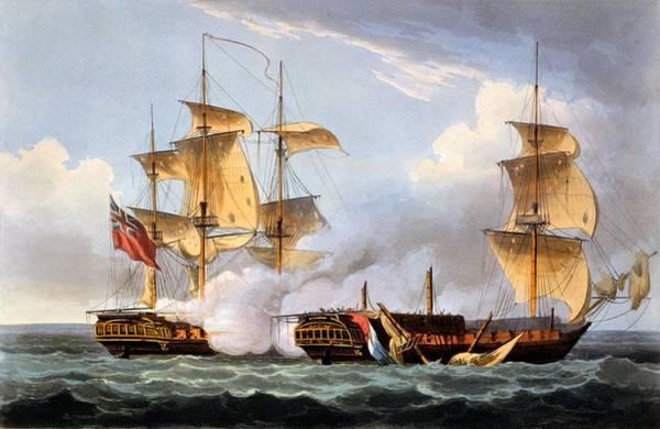 Warfare Drawing - The Capture Of La Vestale by Thomas Whitcombe