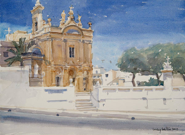 Gozo Wall Art - Painting - The Capuccini Church by Lucy Willis