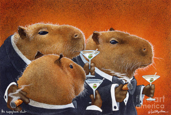 Wall Art - Painting - The Capybara Club... by Will Bullas