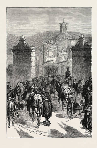 Wall Art - Drawing - The Carlist Revolt In Spain Mountain Artillery Re-entering by Spanish School
