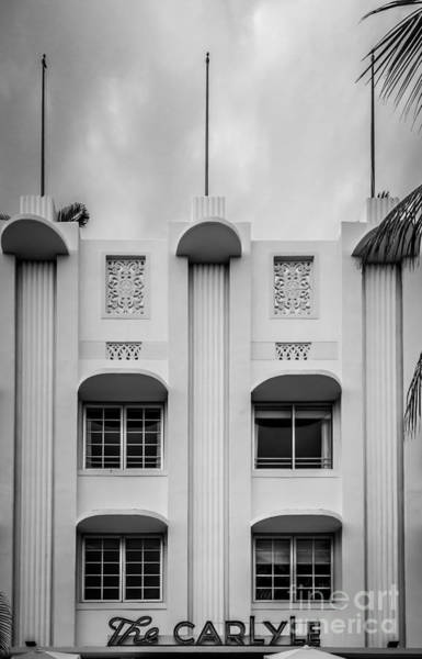 Elliott Photograph - The Carlyle Art Deco Detail South Beach Miami - Black And White by Ian Monk