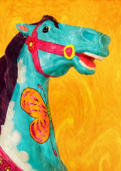 Carousel Mixed Media - The Carousel Horse by Bob Pardue