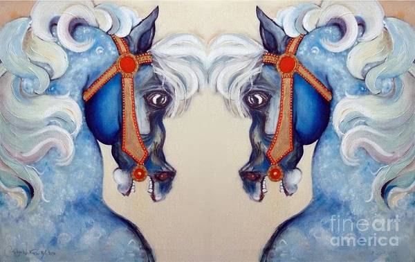 Carousel Mixed Media - The Carousel Twins by Carolyn Weltman