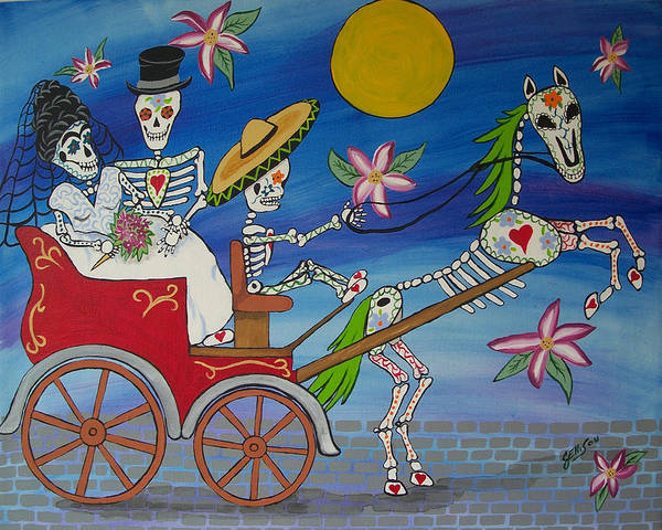 Latino Painting - The Carriage Ride Day Of The Dead by Julie Ellison